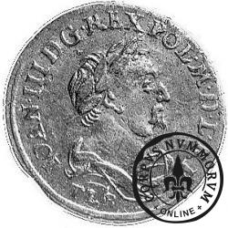szóstak koronny - popiersie w płaszczu, herb w owalu, VI, kropki