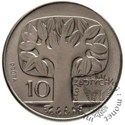 10 złotych - drzewo, napisy pod orłem