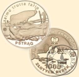 1000 złotych rybek (Au.900) - II emisja / PSTRĄG