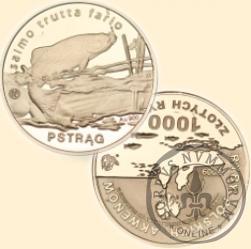 1000 złotych rybek (Au.900, st. odwrócony) - II emisja / PSTRĄG bok gładki