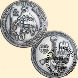 10 miedziaków królewskich - Mieszko I  wg. J. Matejki (mosiądz posrebrzany oksydowany)