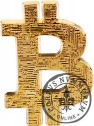 Bitcoin BTC - metal pozłacany (ażurowy symbol kryptowaluty bitcoin)