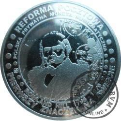 20 pocztowych - PIERWSZY ZNACZEK NA ŚWIECIE 1840 (mosiądz srebrzony)