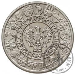 100 złotych - Mieszko i Dąbrówka - głowy w prawo, Aw: herby, Rw: nominał, Ag