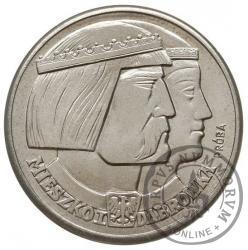 100 złotych - Mieszko i Dąbrówka - głowy w prawo, orzeł na Aw i Rw, Ag