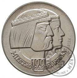 100 złotych - Mieszko i Dąbrówka - głowy w prawo, Aw: orzeł, Rw: nominał, Ag.700 st. płaski