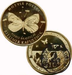 10 motylków / Bielinek kapustnik (V emisja - mosiądz)