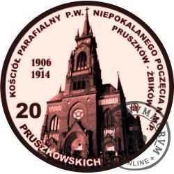20 pruszkowskich / KOŚCIÓŁ PARAFIALNY P.W. NIEPOKALANEGO POCZĘCIA N.M.P. - PRÓBA (WZORZEC PRZEDPRODUKCYJNY - miedź patynowana)