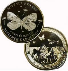 10 motylków / Bielinek kapustnik (V emisja - alpaka)