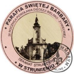 20 Diecezji - PARAFIA ŚWIĘTEJ BARBARY W STRUMIENIU (miedź + rycina - Φ 22 mm)