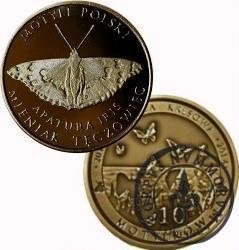 10 motylków / Mieniak tęczowiec (VI emisja - mosiądz patynowany)