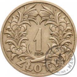 1 złoty - wieniec liściasty, nikiel PRÓBA st. zw.