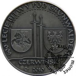 40 kwartników czerwińskich - 600 LECIE BITWY POD GRUNWALDEM (brąz srebrzony oksydowany z szafirem)