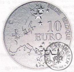 10 euro - 50 rocznica katastrtofy górniczej w Bois du Cazier w Marcinelle -górnik miedziany.