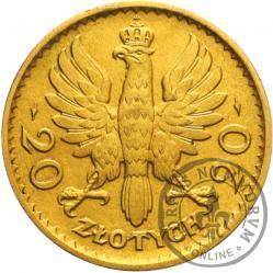 20 złotych - Polonia (głowa kobiety) - mosiądz