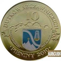 10 dutków szczawnickich - Szczawnica / Przystań u źródeł (bimetal pozłacany z tampondrukiem)