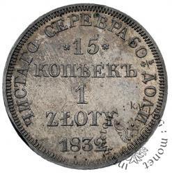 15 kopiejek - 1 złoty (z kreską ułamkową)