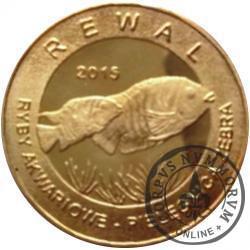 10 złotych rybek - Pomorze Zachodnie / Rewal ~ Pielęgnica zebra (II emisja - mosiądz pozłacany)