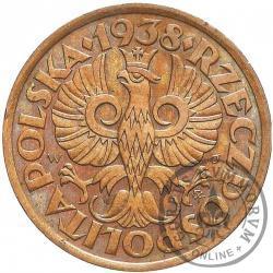 50 groszy - stary orzeł, liczba w wieńcu, brąz