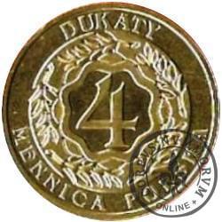 4 dukaty (wyemitowany razem z żetonem, obustronnie logo mennicy warszawskiej)