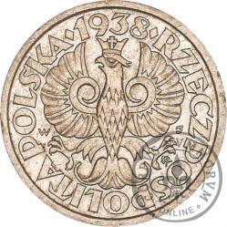50 groszy - stary orzeł, liczba w wieńcu, aluminium