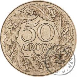 50 groszy - nowy orzeł, liczba w wieńcu, żelazo, 23 mm