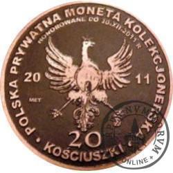 20 KOŚCIUSZKI (Tadeusz Kościuszko) / WZORZEC PRODUKCYJNY DLA MONETY (miedź patynowana)