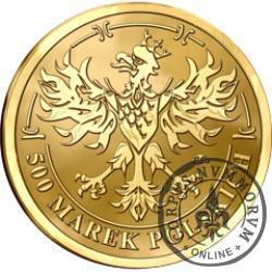500 marek polskich - Środek płatniczy Rzeczypospolitej Polskiej 1919-1939 (mosiądz pozłacany)