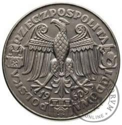 100 złotych - Mieszko i Dąbrówka - głowy w prawo, Aw: orzeł, Rw: nominał, Ag.750 bok gł.
