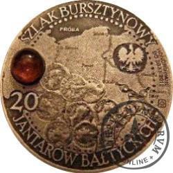 20 jantarów bałtyckich (PRUSZCZ GDAŃSKI) / WZORZEC PRODUKCYJNY DLA MONETY (miedź patynowana + bursztyn)