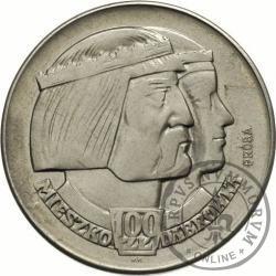 100 złotych - Mieszko i Dąbrówka - głowy w prawo, Aw: orzeł, Rw: nominał, nowe srebro