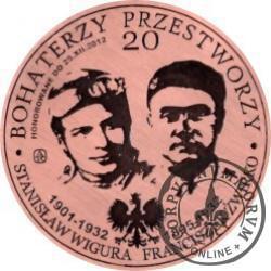 20 bohaterzy przestworzy - 80. rocznica śmierci Franciszka Żwirki i Stanisława Wigury (miedź - Φ 38 mm)