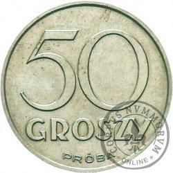 50 groszy - nowy orzeł, awers bez wieńca, Al