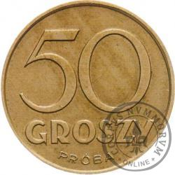 50 groszy - nowy orzeł, awers bez wieńca, miedzionikiel