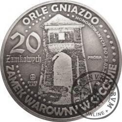 20 zamkowych - Zamek w Ojcowie / WZORZEC PRODUKCYJNY DLA MONETY (miedź srebrzona oksydowana - Φ 50 mm)