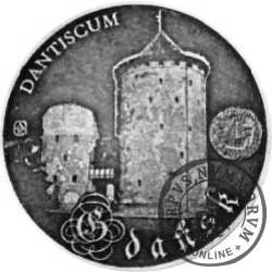 20 jantarów bałtyckich (GDAŃSK) / WZORZEC PRODUKCYJNY DLA MONETY (miedź srebrzona oksydowana + bursztyn)