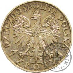 1 złoty - Polonia (głowa kobiety) Ag PRÓBA bez roku 18 mm