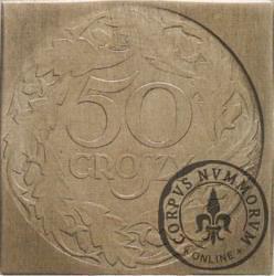 50 groszy - nowy orzeł, liczba w wieńcu, Al klipa 24 mm
