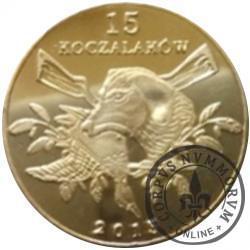 15 koczalaków (Koczała) XIII emisja / Typ 2 - SZOP PRACZ (mosiądz platerowany 24ct. złotem)