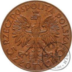 5 złotych - Polonia (głowa kobiety) - brąz