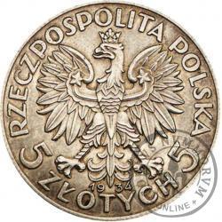 5 złotych - Polonia (głowa kobiety) - PRÓBA