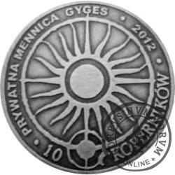 10 koperników / WZORZEC PRODUKCYJNY DLA MONETY (mosiądz srebrzony oksydowany - wzór I)