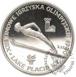 200 złotych - XIII igrzyska Lake Placid 1980 - skoczek znicz