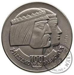 100 złotych - Mieszko i Dąbrówka - głowy w prawo, Aw: orzeł piastowski, Rw: nominał, Ni