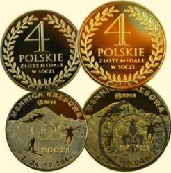 4 polskie złote medale w Soczi (mosiądz)