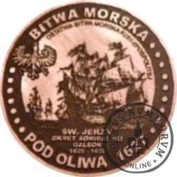 20 bitewnych - BITWA MORSKA POD OLIWĄ (1627) / WZORZEC PRODUKCYJNY DLA MONETY (miedź patynowana)
