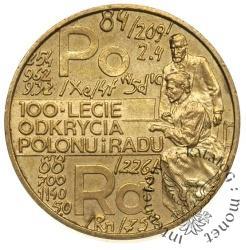 2 złote - 100-lecie odkrycia polonu i radu