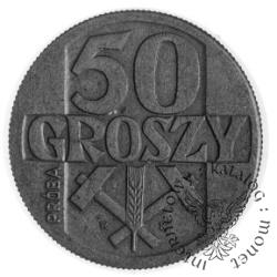 50 groszy - skrzyżowane młotki z kłosem